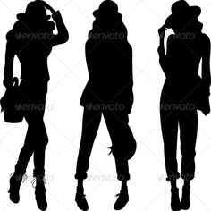 Buy Vector Silhouette of Fashion Girls Top Models by Kavalenkava on GraphicRiver. Set 4 silhouette of fashion girls top models. More pictures peoples for you: Woman Silhouette, Fashion Silhouette, Western Crafts, Sassy Girl, Boutique Logo, Black Women Art, Girl Body, Photography Website, Hippie Chic