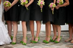 pop of color in the bridesmaids shoes :: example shown in green... Maybe have matching color in flip flops for them to swap out..