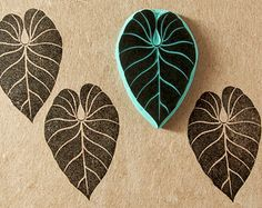 Hand carved rubber stamp of a long tropical leaf - tropical decor - stamp