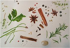 my first watercolour artwork in 15 years... :-) herbs and spices © Bart