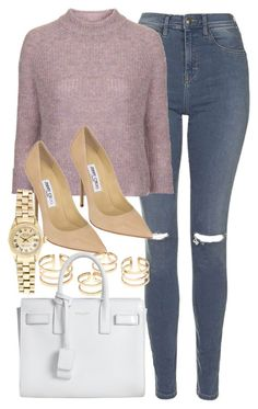 """""""Style #9766"""" by vany-alvarado ❤ liked on Polyvore featuring Topshop, Jimmy Choo, Yves Saint Laurent, Rolex, women's clothing, women, female, woman, misses and juniors"""