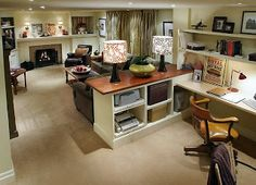 Finished basement layout: family room and workspace combined.