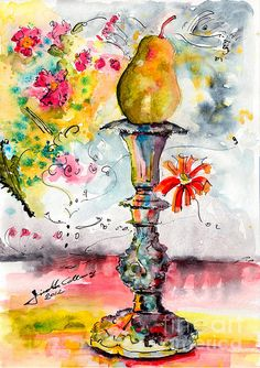 Pear on Candle Stick ~ Ginette Callaway