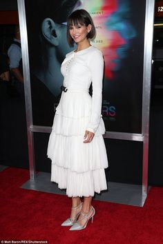 Swan lake: Nina Dobrev wore an all-white outfit for the world premiere of Flatliners on We...