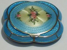 BEAUTIFUL VINTAGE DECO BBCo GUILLOCHE ENAMEL COMPACT BLISS BROTHERS
