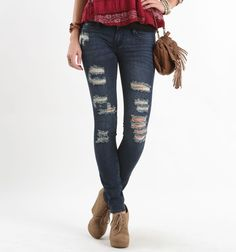 Bullhead Black Destroy Monsoon Skinniest Jeans - Jeans AND shoes I love......man I really do want those shoes...