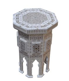 Unique full white body Moroccan End Table. Buy this exotic & rare piece of Moroccan End Table that is designed to compliment & enhance your home décor. Morrocan Table, Moroccan Side Table, White End Tables, Wood End Tables, Side Coffee Table, Oval Coffee Tables, Moroccan Furniture, Modern Moroccan, Pink Home Decor
