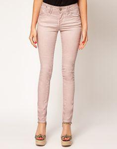 ASOS Oil Wash Skinny Jeans in Mink