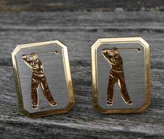 Golf Cufflinks. Vintage Silver & Gold. by EasyBlockStudio on Etsy