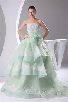Sage Strapless Brush/ Sweep Train Organza Corset-back Ball Gown Wedding Dress