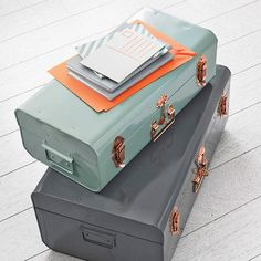 Metal Storage Trunk With Copper Detail - living room Decorative Accessories, Home Accessories, Pastel Bedroom, Sweet Home, Storage Trunk, House Doctor, Interior Design Services, Just In Case, Living Room Decor