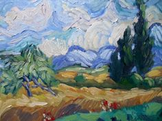 "Landscape Artists International: Daily Painting, Small Oil Painting, VanGogh landscape, ""Tribute to Vincent"" by Carol Schiff, 6x8"" Oil"