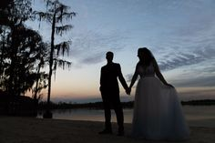 Kristina & Joe's waterfront wedding portraits at sunset!