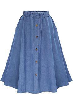 Denim Pleated Skirt for Women Button Jeans Swing Skirt Ladies A-line Elastic High Waist Casual Midi Skirts Skater Dress Midi Skirt Casual, Skater Skirt Dress, Midi Flare Skirt, Pleated Midi Skirt, Midi Skirts, Skater Jeans, Denim Skirts, Midi Skirt With Pockets, Long Skirts For Women