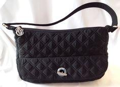 VERA BRADLEY Black Quilted Shoulder Handbag Silver Monogram Pull and Toggle #VeraBradley #ShoulderBag