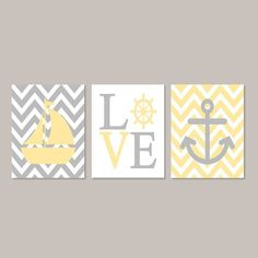 Yellow Gray Nursery WALL ART  Nautical by LovelyFaceDesigns