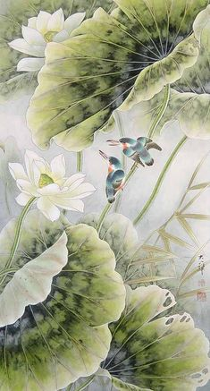 Творчество китайского художника Lou Dahua. Lotus Painting, Lily Painting, Japan Painting, Lotus Kunst, Lotus Art, Lotus Flower Pictures, Art Japonais, Japan Art, Japan Japan