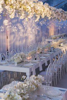 Nancy Liu Chin's floating orchid wedding reception centerpiece