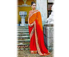 Orange and Red Designer Saree