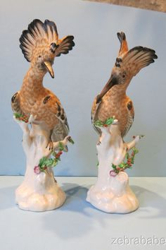 RARE Nymphenburg Porcelain Hoopoe Bird Figurine (Pair)
