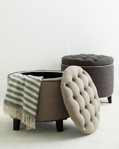 Hudson Tufted Storage Ottoman - for the master br closet