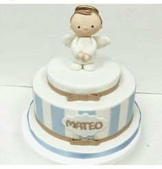Baby Boy Christening Cake, Baby Boy Baptism, Baptism Party, Bolo Barbie, Confirmation Cakes, Communion Cakes, Cakes For Boys, Angel Cake, Cute Cakes