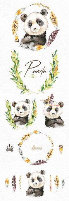 This Panda 2 set of 14 high quality hand painted watercolor images. Perfect graphic for any projects, babyshowers, wedding invitations, greeting cards, photos, posters, quotes and more. ----------------------------------------------------------------- This listing includes: 14 x Images