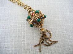 FLORENZA Jewelry VINAIGRETTE NECKLACE Vintage Perfume Bottle Etruscan Style Pendant Charm on Etsy $118.99 by pegi16