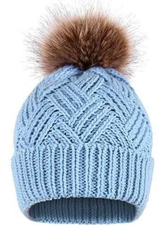 fb1f2a4dd64 Simplicity Womens Beanie Handcraft Knit Faux Fur Pom Beanie Hat –  Videos.Images.Pictures
