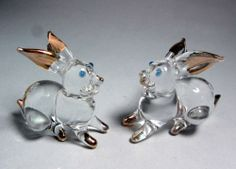 Cute 2 RABBIT hand blown ART GLASS figurine miniature - GIFT animal collection