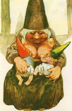 Gnome Elf Lisa (from Rien Poortvliet) breastfeeding twin babies Norman Rockwell, Rockwell Kent, Breastfeeding Art, Baumgarten, Kobold, Dutch Artists, Fairy Art, Magical Creatures, Illustrations
