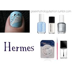 """""""Hermes (Nails)"""" by little-miss-blue on Polyvore"""