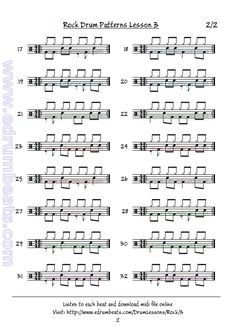 Second page of rock beats drum lesson 3