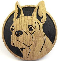 Scroll saw cut Boston Terrier--7df