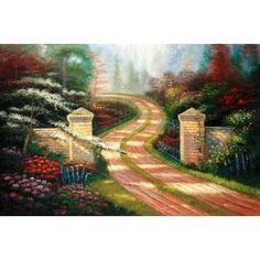 Real Handmade Landscape Oil painting Landscape Art, Landscape Paintings, Oil Paintings, Beautiful Roads, Mixed Media Art, Country Roads, Pastel, Watercolor, Handmade