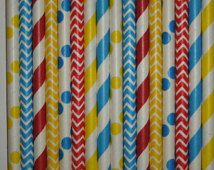 50 Circus Carnival Theme Party Paper Straws -Circus Birthday-Clown Birthday- Carousel Party-Boy Superhero Birthday-Carnival Mason Jar Straws
