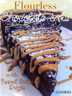 Decadent chocolate cake with peanut butter drizzle that is moist, gluten free, and oh so tasty. Alohamora Open a Book http://alohamoraopenabook.blogspot.com/