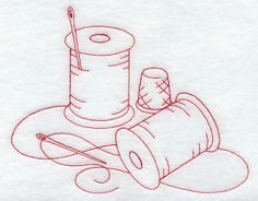 Machine Embroidery Designs at Embroidery Library! - Spools of Thread (Redwork)