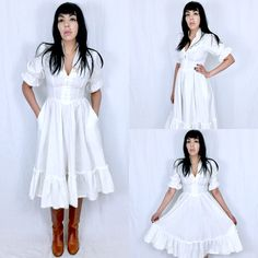 Vintage 70s White Gunne Sax By Jessica San Francisco Corset Style Victorian Folk Prairie Country Dress S // XS $70.00  https://www.etsy.com/listing/466336712/vintage-70s-white-gunne-sax-by-jessica