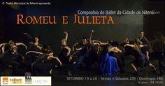 """A Companhia de Ballet da Cidade de Niterói apresenta o espetáculo """"Romeu e Julieta"""" no Teatro Municipal de Niterói, do dia 19 a 28 de setembro de 2014, sextas e sábados, às 20h, e domingos às 18h. Este espetáculo nasceu do desejo de revisitar histórias e temas atemporais, encontrados pela Companhia na obra de Shakespeare, em especial """"Romeu e Julieta"""","""