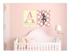 Nursery art, monogram nursery, polka dot nursery art, baby birth stats, ballerina nursery, set of 8x10 prints