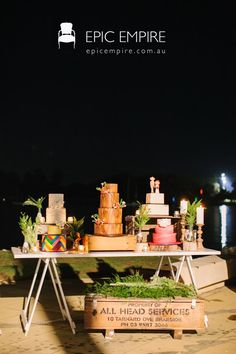 Cakes on a door . Marquee Events, Dry Bars, Vintage Trunks, White Shelves, Cake Table, Event Styling, Making Out, Frames, Tables
