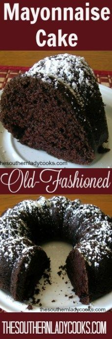 Laurie's Recipe This chocolate mayonnaise cake has been around a very long time. It's a cake you must try to appreciate. Your family will love this recipe. Mayonaise Cake, Chocolate Mayonnaise Cake, Chocolate Bundt Cake, Chocolate Desserts, Chocolate Lasagna, Great Desserts, No Bake Desserts, Delicious Desserts, Baking Desserts