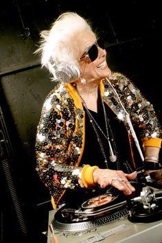 Young at heart...this awesome older woman is a dj!