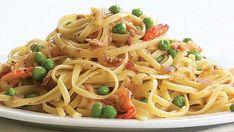 Linguine with Shrimp, Caramelized Onion, Pancetta & Peas - Recipe - FineCooking