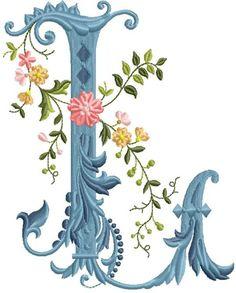 alfabeto celeste con flores L