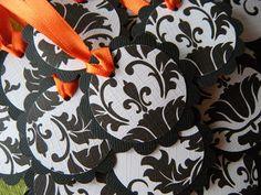 25 DoubleLayer Black and White Damask 2 Inch by WeddingsBySusan, $6.50