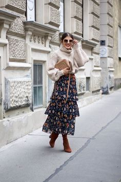 Suede Sock Boots & Floral Midi Skirt - Fashionnes #socksoutfit