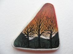 reserved for BEV - Sunrise through the trees - Original miniature painting on lovely English sea pottery