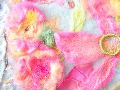 Watercolor Floral in Needle Felt Lilies Poppies Delphinium Wool Roving Silk | eBay